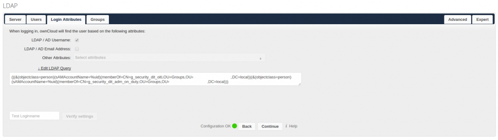 owncloud AD Login Attributes